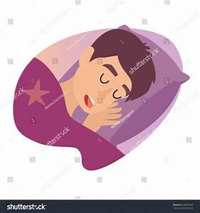 Sleeping Man Cartoon Character Boy Bed Stock Vector ...