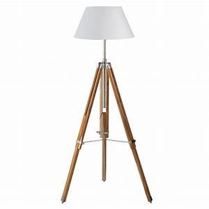 Lampadaire Maison Du Monde : lampadaire tr pied en bois et tissu blanc h 155 cm ~ Premium-room.com Idées de Décoration