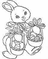 Easter Coloring Pages Basket Rabbit Baskets sketch template