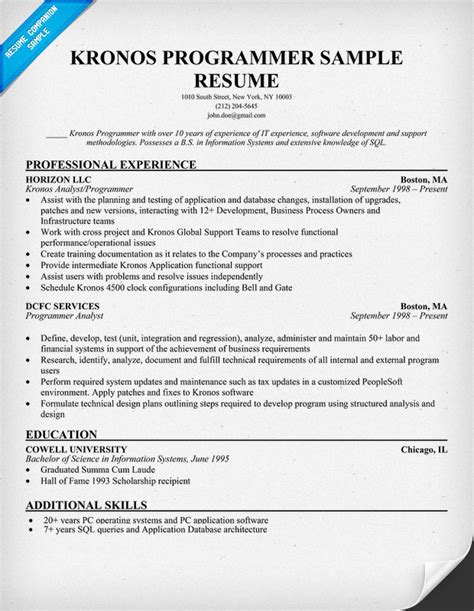 Analyst Programmer Resume Template by Boston Engineer Resume Support Technical