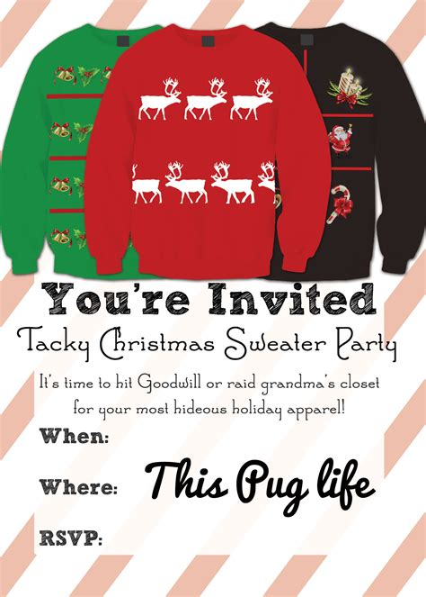 tacky christmas sweater party invitations free printable