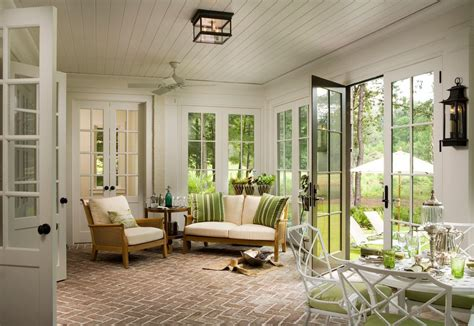 green bricks sunroom farmhouse with french doors black doorknobs