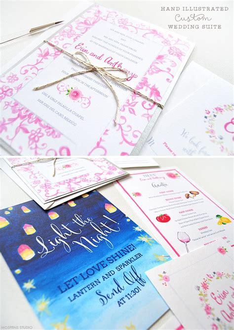 Handmade Custom Watercolor Wedding Invitations