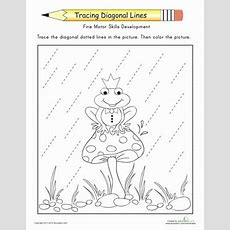 Tracing Diagonal Lines Complete The Frog Prince  Worksheet Educationcom