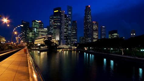 cityscapes architecture town skyscrapers rivers night city