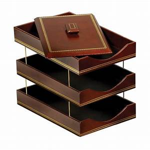 Brown leather letter trays with 24kt gold accent stacking for Brown leather letter tray
