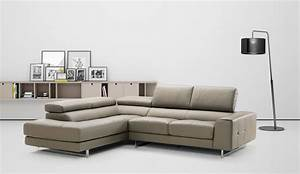 Extra small studio size brown leather sectional with for Design studio sectional sofa