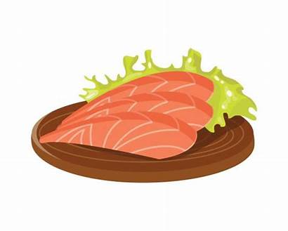 Salmon Clipart Dinner Fillet Plate Vector Fish