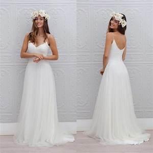 summer style beach wedding dress sexy v neck spaghetti With beach style wedding dresses