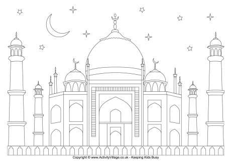 Coloring Mosque by Mosque And Starry Sky Colouring Page Free