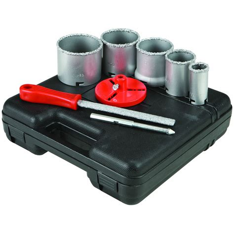 1 1 4 in 3 1 4 in carbide grit hole saw assorted set 9 pc