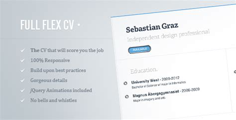 Jquery Resume Template by Flex Cv Fully Responsive Html5 Resume Traclaborat