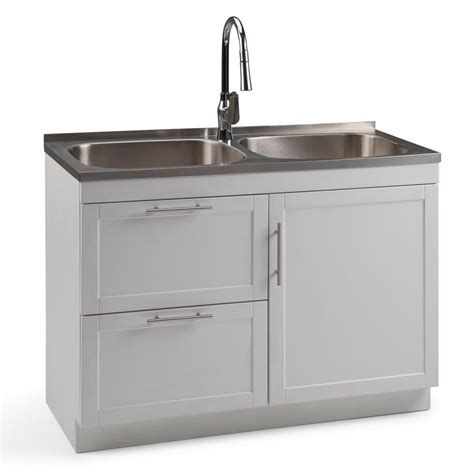 Home Depot Laundry Sink And Cabinet by Simpli Home Seiger 46 In X 20 In X 35 In Dual Stainless