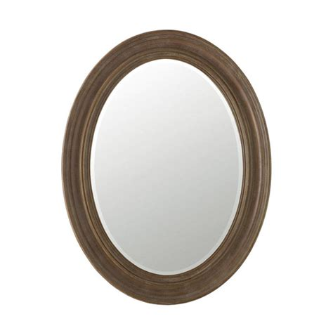 kildare oval mirror stained brown wood oka
