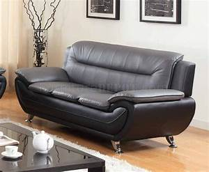 1074 sofa in grey black faux leather w options With grey faux leather sectional sofa