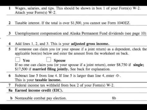 how to complete a 1040ez tax form 1040ez tips for line 5