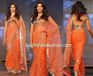Deepika Padukone in Mirror Work Saree –South India Fashion