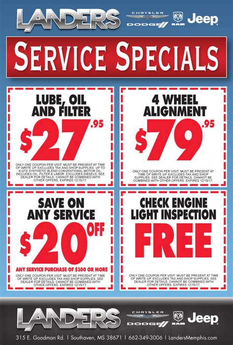 Dodge Coupons by Service Department Coupons Specials Landers Chrysler