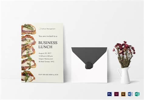 business lunch invitation design template  psd word