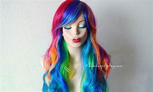 Rainbow color wig. Rainbow dash wig. Long curly rainbow wigs.