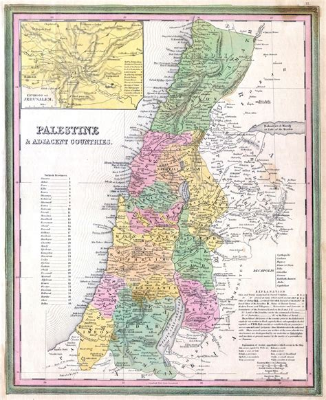 large detailed  map  palestine  adjacent countries