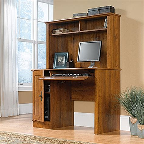 harvest mill computer desk w hutch oak d 404961 sauder woodworking afw