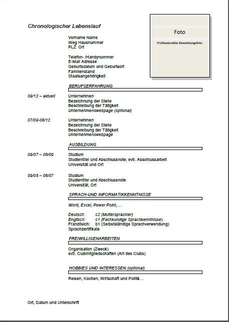 German Resume Template by German Cv Template Lebenslauf Joblers