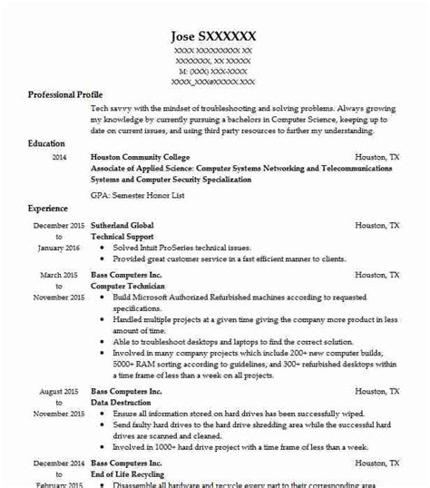 Technical Support Representative Resume by Best Technical Support Resume Exle Livecareer