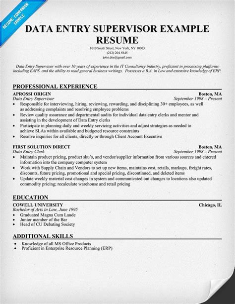 Data Entry Supervisor Resume Sle data entry resume entry level 28 images best data entry clerk resume exle livecareer sle