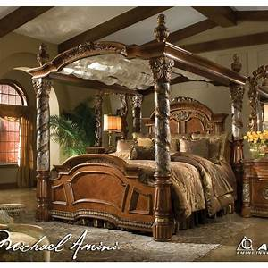 Michael amini villa valencia king size poster canopy bed for How to buy king size canopy bed