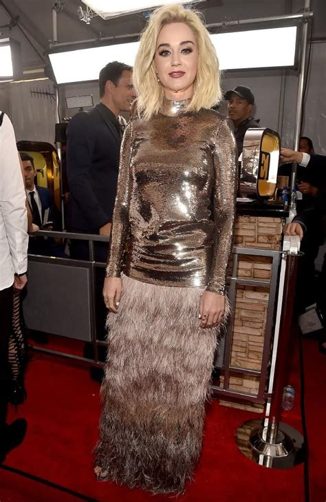 Katy Perry arrives at the 2017 Grammy Awards. Picture ...