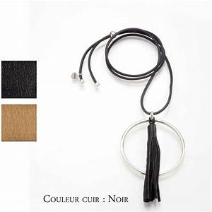 Collier cordon cuir avec jonc en metal argente et pompon for Tapis jonc de mer avec fabricant francais canape cuir