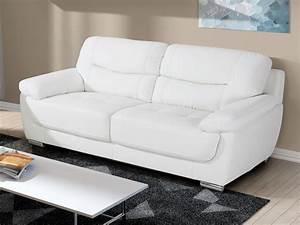 Canapé Blanc Design : canap 2 ou 3 places en simili blanc chocolat ou taupe ~ Teatrodelosmanantiales.com Idées de Décoration