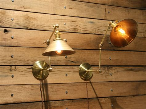 made brass wall sconce industrial articulating wall