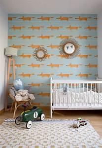 Papier Peint Bébé Garcon : chambre d 39 enfant avec un papier peint bleu clair avec des renards chambre b b enfant en 2019 ~ Nature-et-papiers.com Idées de Décoration