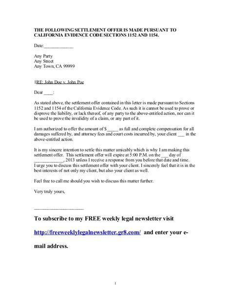 settlement offer letter levelings