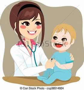 Vector Illustration of Pediatrician Examining Baby ...