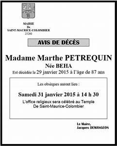 Avis De Deces Aisne : commune de saint maurice colombier ~ Dailycaller-alerts.com Idées de Décoration