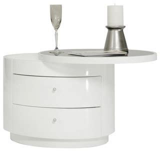 Contemporary White Nightstands by Modrest Symphony Modern White Nightstand