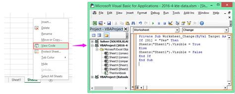 how to hide or unhide a specific worksheet based on cell