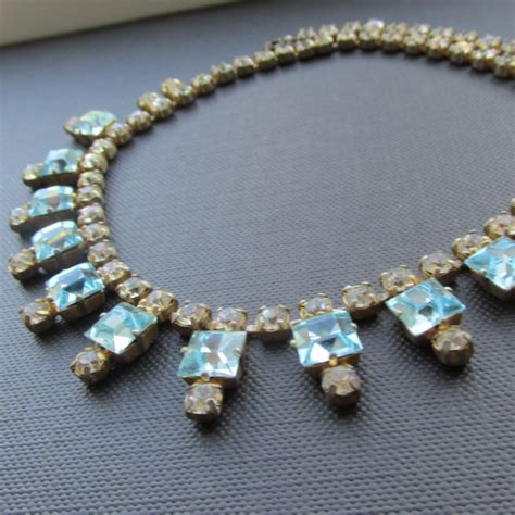 Aquamarine Art Deco Style Vintage Crystal Necklace  Uk. Hexagonal Rings. Sun Moon Pendant. Uses Diamond. Loop Necklace. Oversized Pendant. 10k Gold Stud Earrings. Woman Bands. Quinceanera Rings