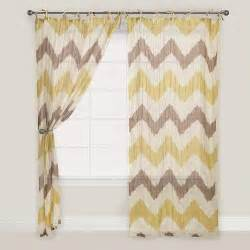 yellow and gray chevron crinkle voile curtain