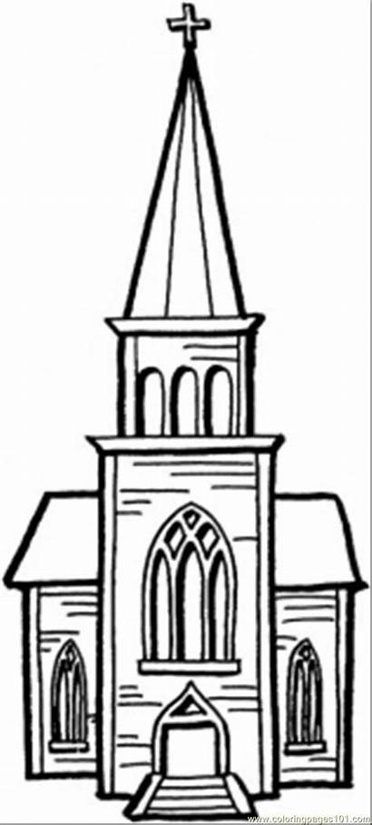 Coloring Chapel Pages Printable Buildings Church Clip