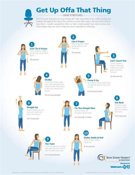 Learn this simple desk exercise routine with easy to follow picture descriptions! Blue Zones Project™ by Healthways | Lets get physical! | Pinterest | The o'jays, Blue and Desks