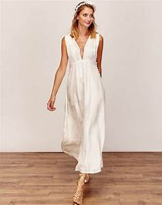 robe de mariee longue et boheme simple et decolletee en v With robe mariee boheme pas chere