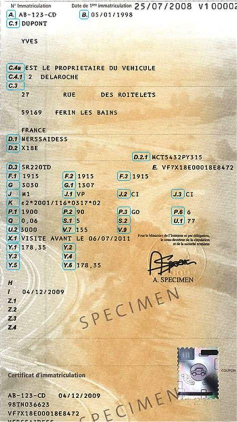 tout savoir sur la carte grise le certificat d immatriculation