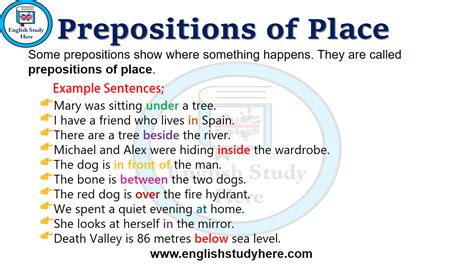 prepositions  place  images english study