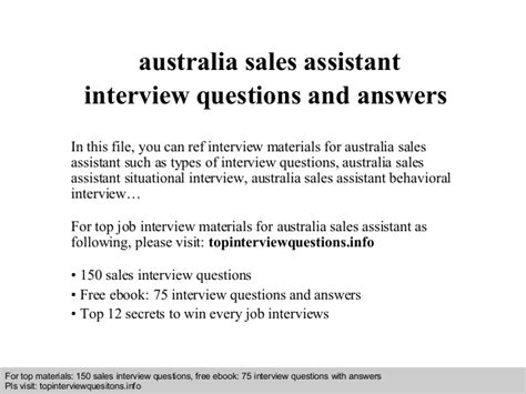 Questions And Answers For Hr Assistant Position by Australia Sales Assistant Questions And Answers