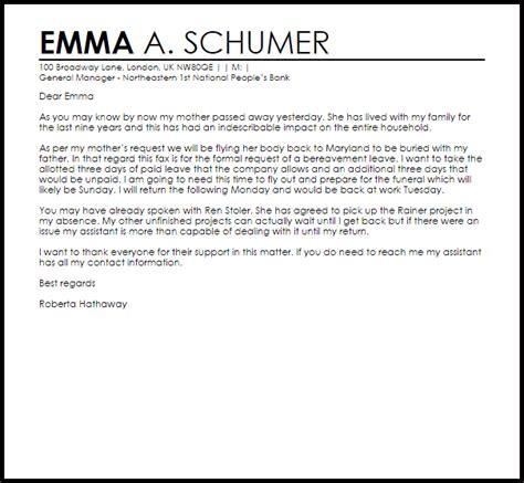 bereavement leave letter  letter samples templates