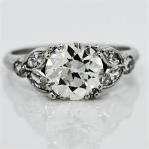 leaf engagement ring vintage european cut diamond 1940 ring claude morady